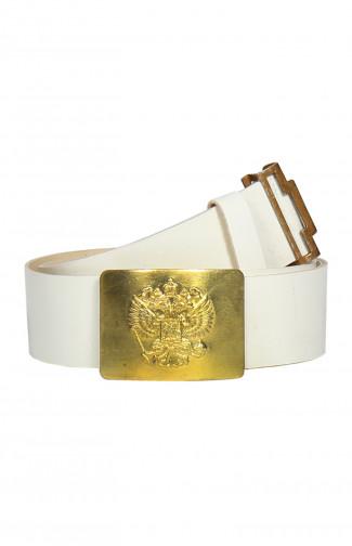 Ремень парадный с латунной пряжкой с гербом белый
