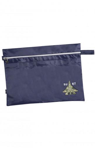 Папка сувенирная с вышивкой СУ-57 кордура синий