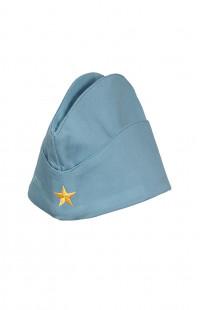 Пилотка детская с вышивкой Я - будущее России твил голубой деним