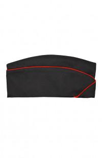 Пилотка форменная смесовая черный с красным кантом