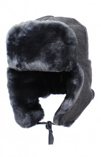 Шапка-ушанка нат.мех/сукно серый