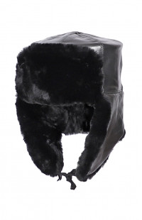 Шапка-ушанка нат.мех/кожа черный