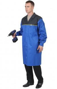 Халат рабочий мужской для защиты от ОПЗ смесовая синий