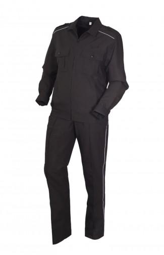 Костюм для охраны со светоотражающим кантом рип-стоп черный