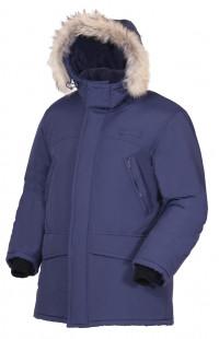 Куртка утепленная с опушкой из натурального меха п/а синий