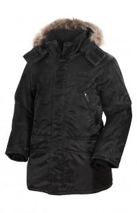 Куртка утепленная с опушкой из натурального меха п/а черный