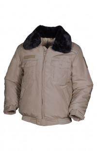 Куртка зимняя укороченная со светоотражающим кантом п/э бежевый