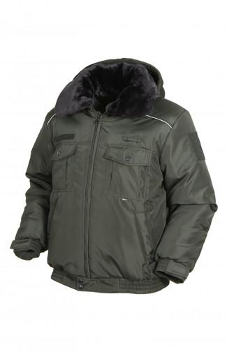 Куртка зимняя укороченная со светоотражающим кантом п/а олива