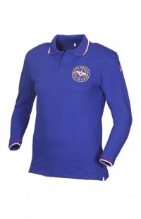 Рубашка поло с длинным рукавом с вышивкой МЧС хлопок синий