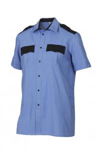 Сорочка форменная с коротким рукавом голубая с черной отделкой
