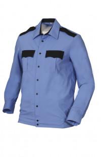 Сорочка форменная на поясе с длинным рукавом голубая с черной отделкой
