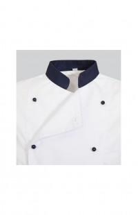 Куртка поварская универсальная белая с синей отделкой