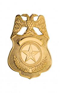 Кокарда охранника латунь золото (1-уровневая)