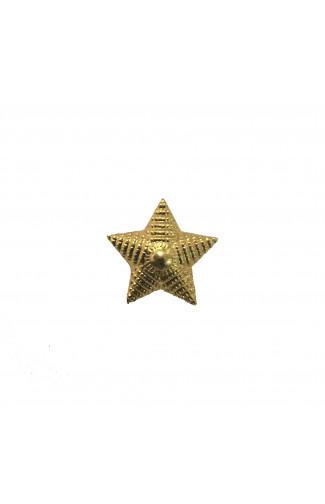 Звезда на погоны 20 мм металл золотая рифленая