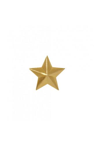Звезда на погоны 13 мм металл золотая гладкая